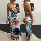 Women Fashion Long Dress Halter Neck Sleeveless Drawstring Maxi Backless Dress