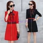 Womens Korean Summer Bowtie Crew Neck 3/4 Sleeve Zip Slim Fit Knee Length Dress