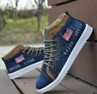 Mens New Fashion High Top Denim Canvas Lace up Flats Sport Sneaker Casual Shoes