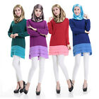 Women Long Sleeve Shirt dress Muslim Blouse Islamic Chiffon Tops Lady Clothing