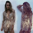 Women Summer Sequin Deep V-neck Playsuit Short Mesh Club Jumpsuit Romper Dress