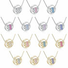 Fashion Womens White/Yellow Gold Plated Crystal Heart Pendant Long Necklace