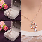 CH Fashion Women Double Heart Chain Necklace Gold/Silver Plated Pendant Jewelry