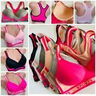 3 Bra 6 SPORT BRAS Active Wear YOGA RACER BACK Molded CUP LOT 8913viola 32B-42D