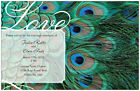 30  50 100 Peacock FEATHER 5X7 WEDDING Personalized Invitations  GREEN Custom