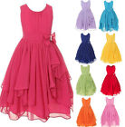 Baby Girls Toddler Kids Chiffon Sleeveless Party Wedding Pageant Dress Tutu 2-9Y
