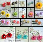 DAISY FLOWER HAIR GRIPS OR EARRINGS OR KEYRING OR RING RESIN ACRYLIC CUTE