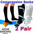 2 Pair Compression MIRACLE SOCKS for Aching Feet, Varicose Veins, Flight, Travel