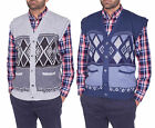 Mens Classic Sleeveless Button Up Cardigan Argyle Diamond Aztec Print Pullover S