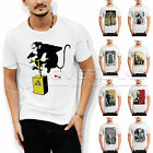 Men's Printed Graffiti Cotton Tees T-Shirts Crew Neck Short Sleeve Casual Large