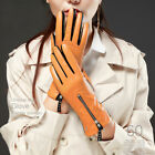 women Italy leather zipper winter warm full touch screen leather gloves