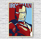 Iron Man Retro Movie Poster Print, Marvel, Wall Art, Picture, Home Decor, #006