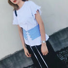 Women Casual Ruffles Striped Lace Up Shirts O neck Short Sleeve Blouse Tops