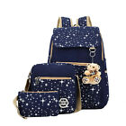3 pieces Sets Women Backpack Star Printing Canvas School Bags for Teenager Girls