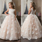 New Custom Net Lace Appliques Kids Birthday Party Gowns Flower Girl Dress
