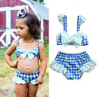 Newborn Adorable Baby Girls Grid Swimwear Bowknot Tankini Swimsuit Beach 0-5T