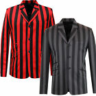 NEW MENS MADCAP BOATING BLAZER Mod Striped 60s JACKET INFERNO RED/BLACK MC310