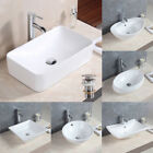 Bathroom Ceramic Countertop Basin Sinks Vessel Oval Square Bowl + Pop Up Drain