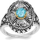Sterling Silver w/ 14K Yellow Gold Accent Blue Topaz & CZ Oval Fancy Ring