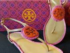New Tory Burch MILLER Fringe T-Strap Sandal 7 7.5 8 Dusty Cypress Hibiscus Pink