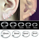 CHIC Silver Plated Double Circle Endless Hoop Rings Lip Nose Ear Studs Earrings
