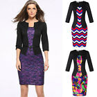 Women Vintage 3/4 Sleeve False Two Piece Bodycon Office Dress with Belt Dazzling