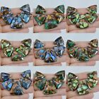 23-31mm Copper malachite sea sediment jasper triangle pendant beads set
