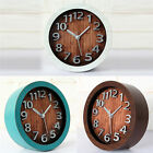 3D Retro Wood Clock Silver Metal Numbers Table Alarm Clock 4.72inch Round