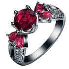 Unique Design Women Five Red Zircon 14KT Black Gold Filled Rings Jeweiry Size6-9