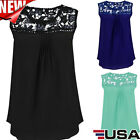 Fashion Women Summer Lace Vest Top Sleeveless Blouse Casual Tank Tops T-Shirt US