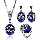 Women Silver Plated Oval Blue Bib Necklace Earrings Ring Vintage Jewelry Sets