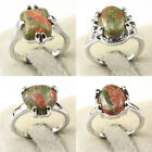 Gemstone Fashion Unique Jewelry Silver Plated Round Men Women Ring Size 6-10