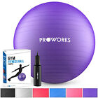 Proworks 65cm Exercise Ball | Large Swiss Yoga Pregnancy Birthing Ball with Pump <br/> Available in Silver, Purple or Pink &brvbar; 2 Year Guarantee