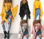 UK Sexy Womens Flare Sleeve Blouse Top Summer T-Shirt Beach Tops Lacing Blouses