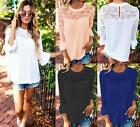 UK Summer Womens Lace Scoop Neck Blouse Top T-Shirt Beach Tops Sexy Blouses 6-16