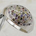 Size 5.5 8 Nice Multi-Color CZ Stone Jewelry Gold Filled Woman Pave Ring K2363