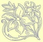 FLORAL REDWORK BLOCKS - DESIGN 4- Anemone Machine Embroidery Singles In 4 sizes