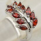 Size 5.5 6.5 7.5 8.5 Garnet Red Tree Jewelry Gold Filled Woman Gift Ring K2284
