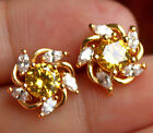 18K Yellow Gold Filled- Windmill Citrine Topaz Gemstone Lady Stud Party Earrings image