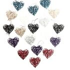 VARIOUS COLOURS 10cm RUSTIC RATTAN HANGING HEARTS - WEDDING GIFT HOME DECORATION