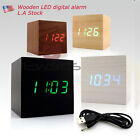 Voice control  Clock Modern Wooden Cube USB Voice Digital Alarm LED display US W