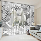 3D Bricks Horses Blockout Photo Curtain Printing Curtain Drapes Fabric Window AU