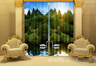 3D Lake Swans 2 Blockout Photo Curtain Printing Curtains Drapes Fabric Window AU