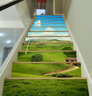 3D The green plain 4 Stair Risers Decoration Photo Mural Vinyl Decal Wallpaper A