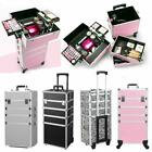 3/4 in 1 4-wheel Makeup Case Organizer Storage Box Rolling Cosmetic Bag Trolley