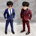 2PCS Suit Baby Boys Kids Blazer Formal Suit For Wedding Jackets Blazer+Pant 2-8Y
