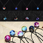 Dreamy Crystal Ball Star Short Glass Galaxy Pattern Pendant Necklace Charms