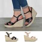 WOMENS LADIES PLATFORM HIGH WEDGE STRAPPY PEEP TOE ESPADRILLES SANDALS SHOES