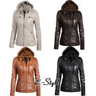 brown leather jacket outfits - Daily Women Leather Coat Windproof Solid Outwear Basic Hooded Jacket Outfit