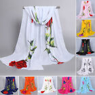 Women's Large Soft Floral Chiffon Scarf Shawl Wrap Summer Beach Evening Cover-up